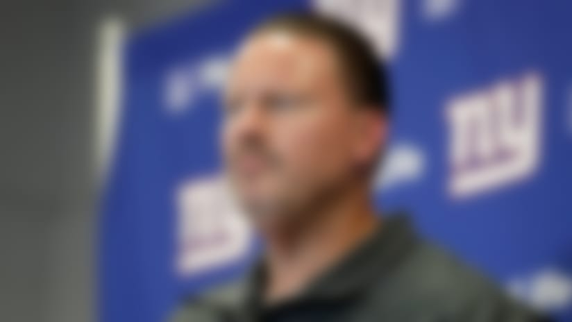 New York Giants head coach Ben McAdoo talks to reporters after an NFL football game against the Seattle Seahawks, Sunday, Oct. 22, 2017, in East Rutherford, N.J. (AP Photo/Julio Cortez)