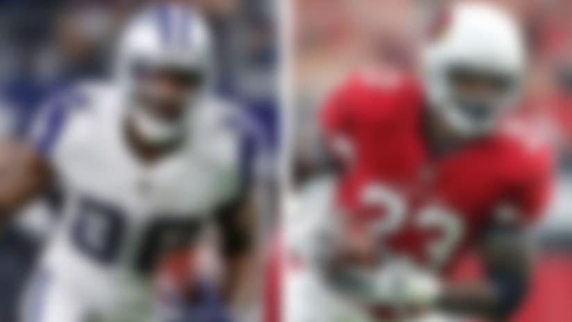 A split image of Dez Bryant and Adrian Peterson.