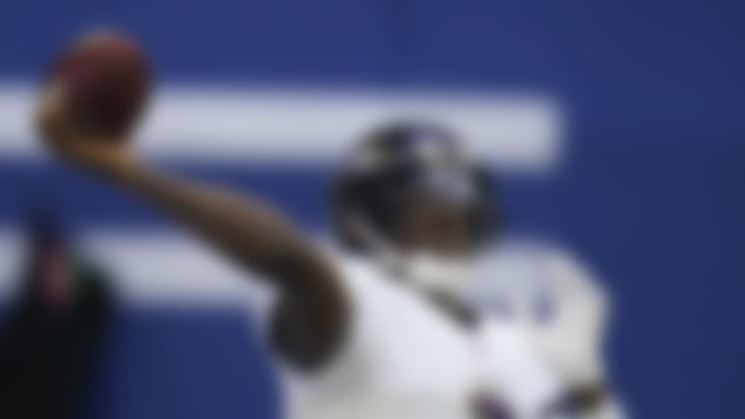 Baltimore Ravens quarterback Robert Griffin III throws before an NFL football game against the Indianapolis Colts, Sunday, Nov. 8, 2020, in Indianapolis. (AP Photo/Darron Cummings)