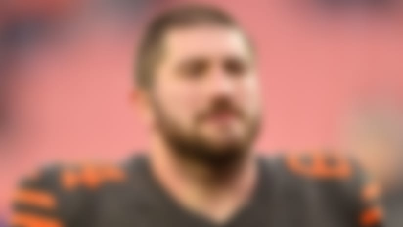 Cleveland Browns center JC Tretter walks off the field after an NFL football game against the Cincinnati Bengals, Sunday, Dec. 8, 2019, in Cleveland. The Browns won 27-19. (AP Photo/David Richard)