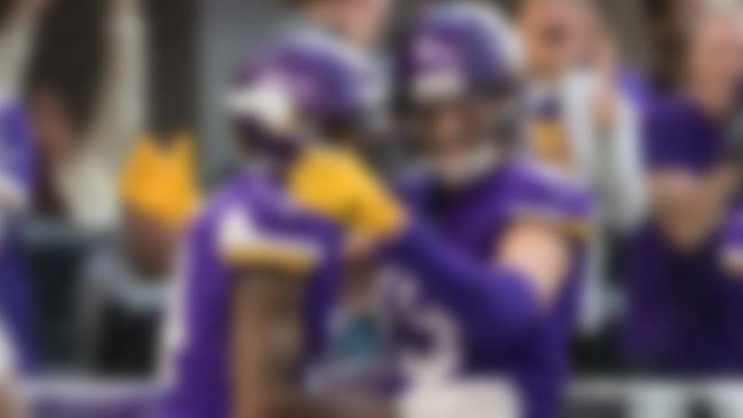 Dec 31, 2017; Minneapolis, MN, USA; Minnesota Vikings wide receiver Stefon Diggs (14) celebrates his touchdown with wide receiver Adam Thielen (19) during the third quarter at U.S. Bank Stadium. Mandatory Credit: Brace Hemmelgarn-USA TODAY Sports