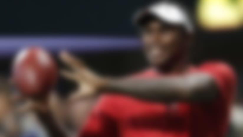 Atlanta Falcons wide receiver Julio Jones tosses the ball before the first half an NFL preseason football game between the Atlanta Falcons and the New York Jets, Thursday, Aug. 15, 2019, in Atlanta. (AP Photo/John Bazemore)