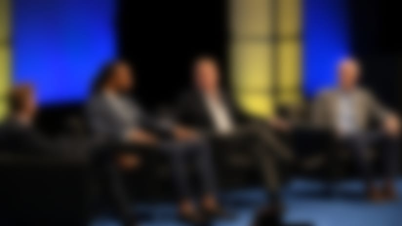 """Scott Hanson, Larry Fitzgerald, Roger Goodell and Rich McKay stopped by """"1st and Future"""" for a panel discussion about health and safety."""