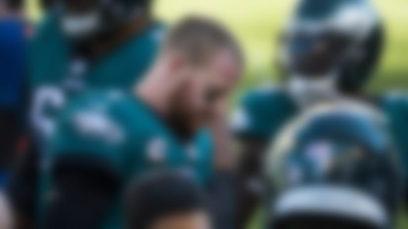 Eagles' Carson Wentz (11) hangs his head after throwing an interception against the Los Angeles Rams Sunday, Sept. 20, 2020, at Lincoln Financial Field. The Rams defeated the Eagles 37-19.