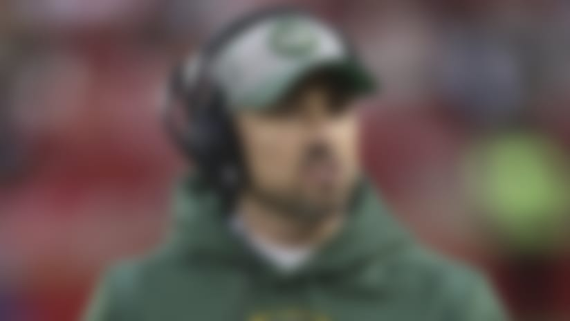 Green Bay Packers head coach Matt LaFleur looks up from the sideline against the San Francisco 49ers during the NFL NFC Championship football game, Sunday, Jan. 19, 2020, in Santa Clara, Calif. (Paul Jasienski via AP)