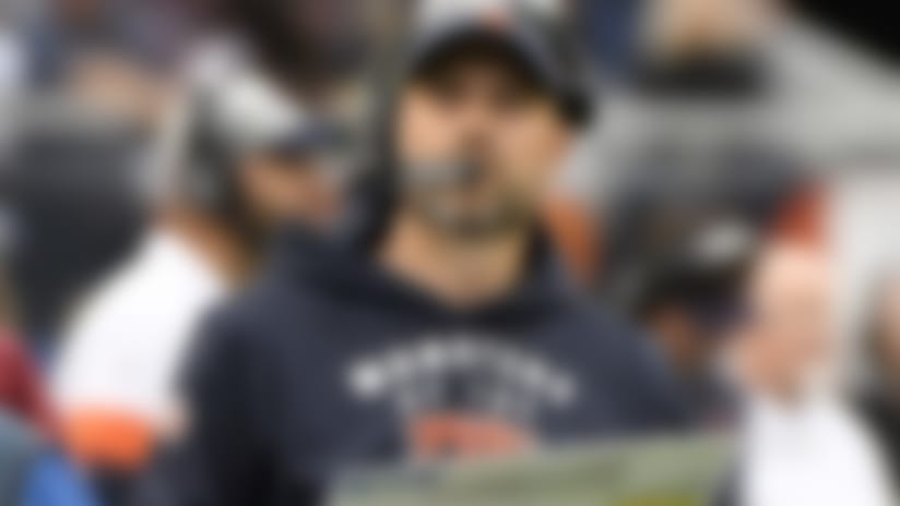 Chicago Bears head coach Matt Nagy watches from the sidelines during the first half of an NFL football game against the Minnesota Vikings Sunday, Sept. 29, 2019, in Chicago. (AP Photo/Matt Marton)