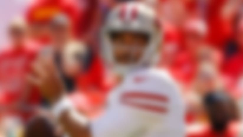 San Francisco 49ers quarterback Jimmy Garoppolo (10) prepares to throw a touchdown pass to wide receiver Marquise Goodwin during the first half of an NFL football game against the Kansas City Chiefs in Kansas City, Mo., Sunday, Sept. 23, 2018. (AP Photo/Charlie Riedel)