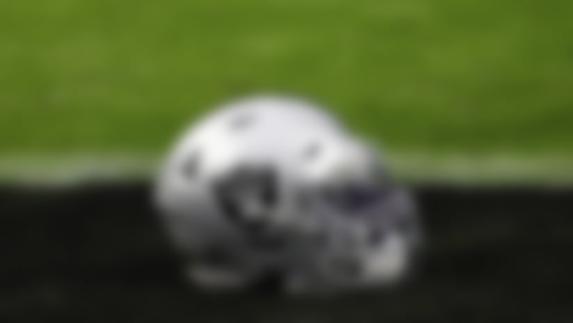A detail view of the Las Vegas Raiders logo on a helmet prior to an NFL football game against the Denver Broncos, Sunday, Nov. 15, 2020, in Las Vegas. Las Vegas won 37-12. (Aaron M. Sprecher via AP)