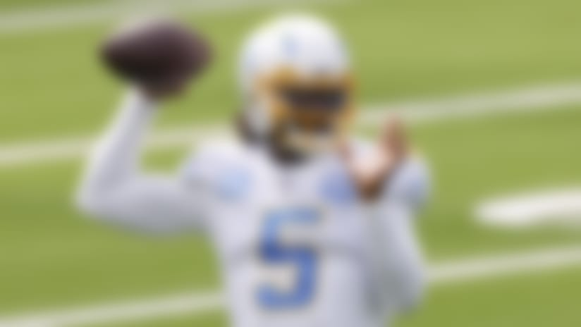 Los Angeles Chargers quarterback Tyrod Taylor (5) warms up prior to the football game against the Kansas City Chiefs on Sunday, September 20, 2020 in Inglewood, California. (Ryan Kang/NFL)