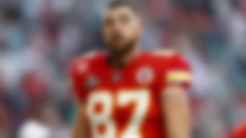 Kansas City Chiefs tight end Travis Kelce (87) looks on prior to the NFL Super Bowl 54 football game against the San Francisco 49ers, Sunday, Feb. 2, 2020, in Miami Gardens, Fla. The Chiefs defeated the 49ers, 31-20. (Ryan Kang via AP)