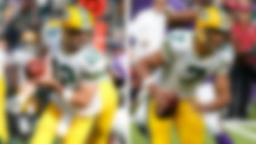 A split image of Aaron Rodgers and Brett Hundley.