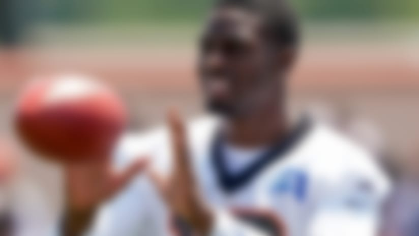 Cincinnati Bengal wide receiver A.J. Green (18) catches a pass during the first day of NFL football training camp Saturday, July 27, 2019, in Dayton, Ohio. (AP Photo/Bryan Woolston)