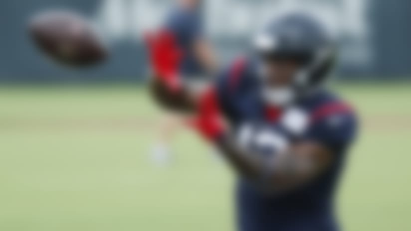 Houston Texans wide receiver Brandin Cooks reaches out to make a catch during an NFL training camp football practice Monday, Aug. 24, 2020, in Houston. (Brett Coomer/Houston Chronicle via AP, Pool)