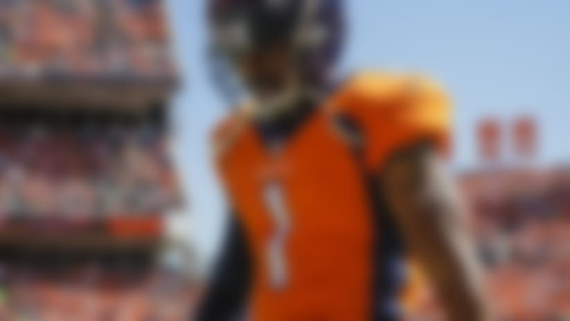 Denver Broncos punter Marquette King (1) paces the sidelines during the first half of an NFL football game against the Seattle Seahawks Sunday, Sept. 9, 2018, in Denver. (AP Photo/Jack Dempsey)