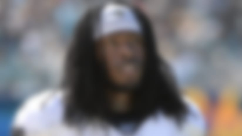New Orleans Saints running back Alvin Kamara (41) watches from the sideline during the first half of an NFL football game against the Jacksonville Jaguars Sunday, Oct. 13, 2019, in Jacksonville, Fla. (AP Photo/Phelan M. Ebenhack)
