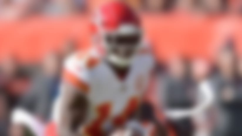 Kansas City Chiefs wide receiver Sammy Watkins rushes during the first half of an NFL football game against the Cleveland Browns, Sunday, Nov. 4, 2018, in Cleveland. (AP Photo/David Richard)