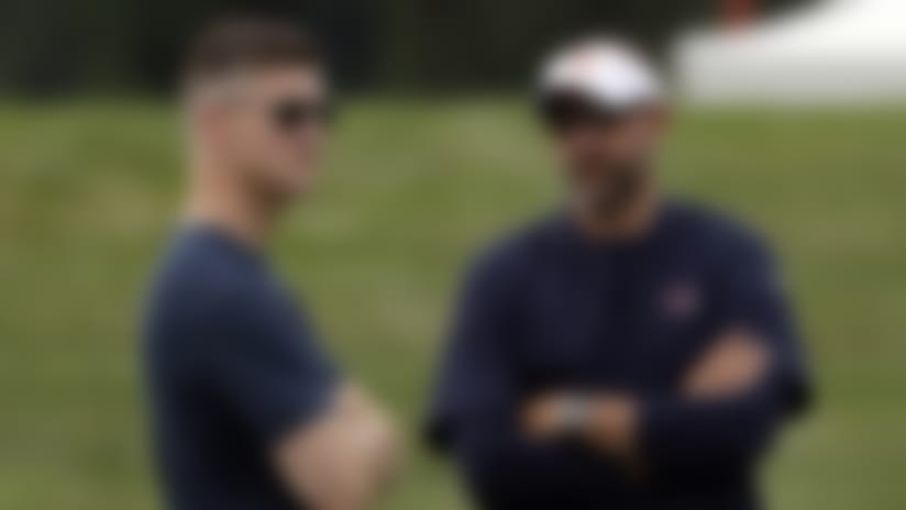 FILE - In this July 26, 2019, file photo, Chicago Bears head coach Matt Nagy, right, talks with general manager Ryan Pace during NFL football training camp in Bourbonnais, Ill. The Bears and every other team around the NFL are staring at a season like no other because of the COVID-19 pandemic. Veterans started reporting to camps this week. But instead of jumping right into the grind, they're taking a slower approach  (AP Photo/Nam Y. Huh, File)