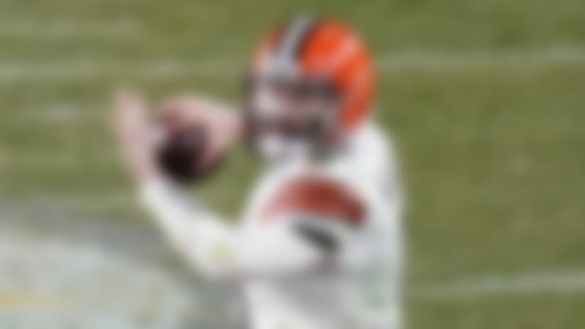 Cleveland Browns quarterback Baker Mayfield (6) throws a pass during the first half of an NFL wild-card playoff football game against the Pittsburgh Steelers, Sunday, Jan. 10, 2021, in Pittsburgh. (AP Photo/Keith Srakocic)