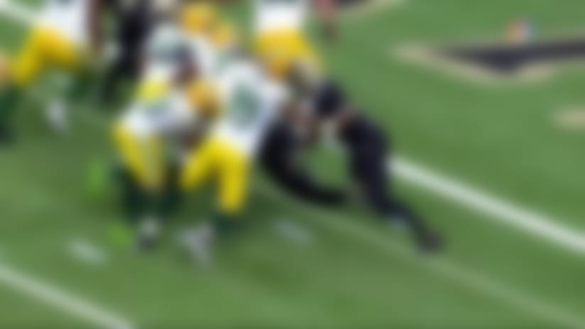 Aaron Jones slips under Cam Jordan for goal-line touchdown run