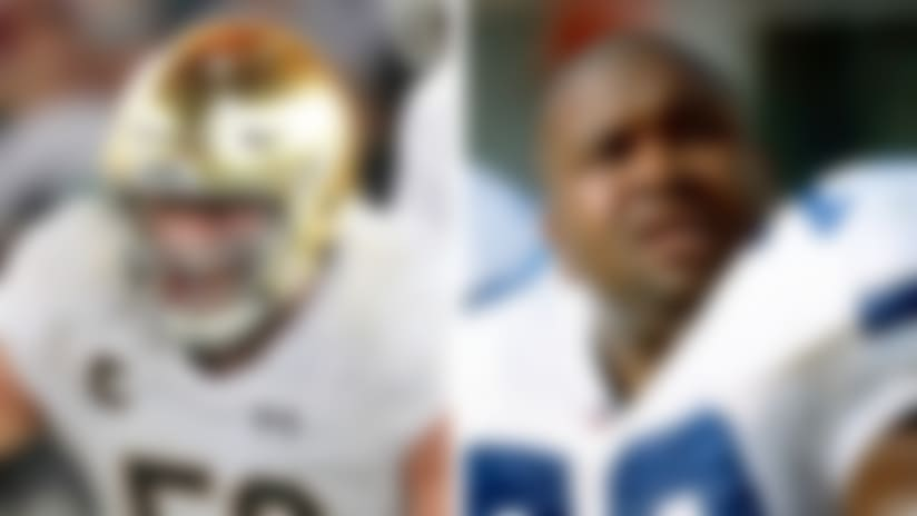 A split image of Quenton Nelson and Larry Allen.