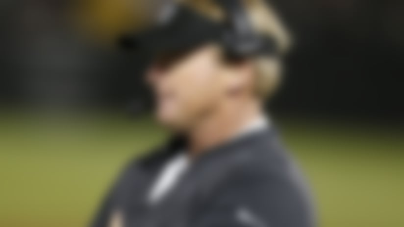 Oakland Raiders head coach Jon Gruden during the second half of an NFL preseason football game against the Green Bay Packers in Oakland, Calif., Friday, Aug. 24, 2018. (AP Photo/D. Ross Cameron)