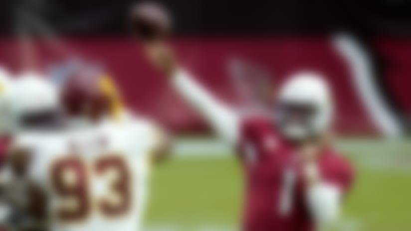 Arizona Cardinals quarterback Kyler Murray (1) throws during the second half of an NFL football game as Washington Football Team defensive tackle Jonathan Allen (93) defends, Sunday, Sept. 20, 2020, in Glendale, Ariz. (AP Photo/Ross D. Franklin)
