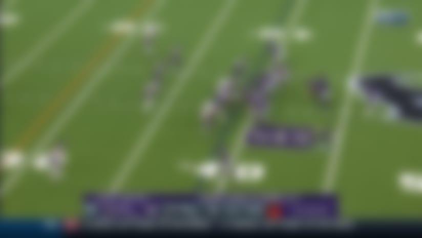 Gus Edwards bursts through hole for 22-yard gain