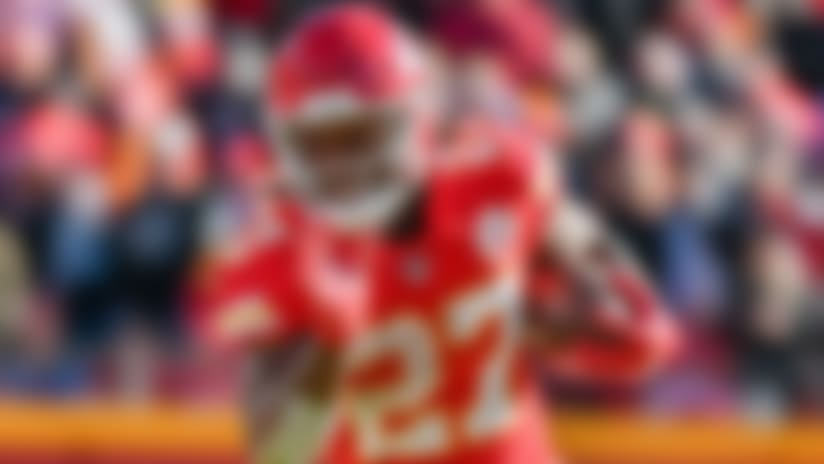 Kansas City Chiefs running back Kareem Hunt (27) carries the ball during the first half of an NFL football game against the Oakland Raiders in Kansas City, Mo., Sunday, Dec. 10, 2017. (AP Photo/Ed Zurga)