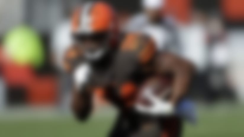 Cleveland Browns running back Nick Chubb (24) rushes against the Seattle Seahawks during the second half of an NFL football game, Sunday, Oct. 13, 2019, in Cleveland. (AP Photo/Ron Schwane)