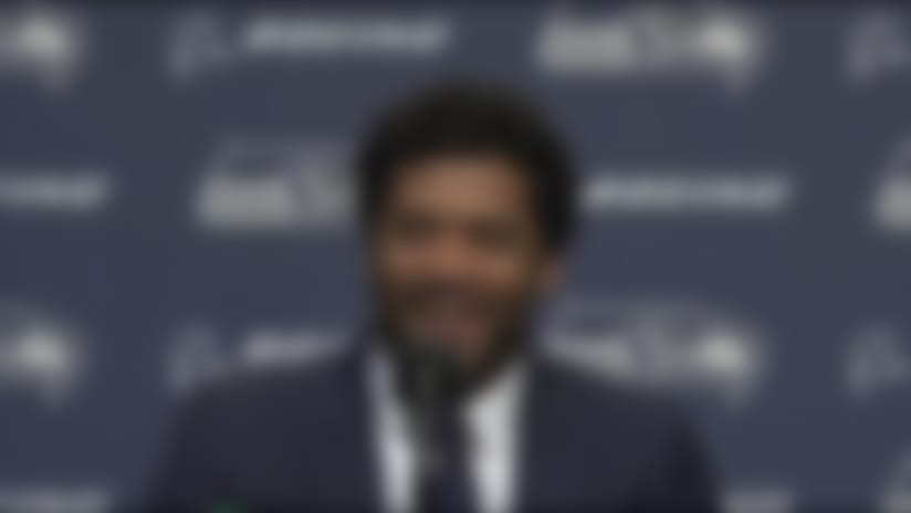 Seattle Seahawks quarterback Russell Wilson's reaction to teammates recreating contract announcement video: 'Absolutely hilariou