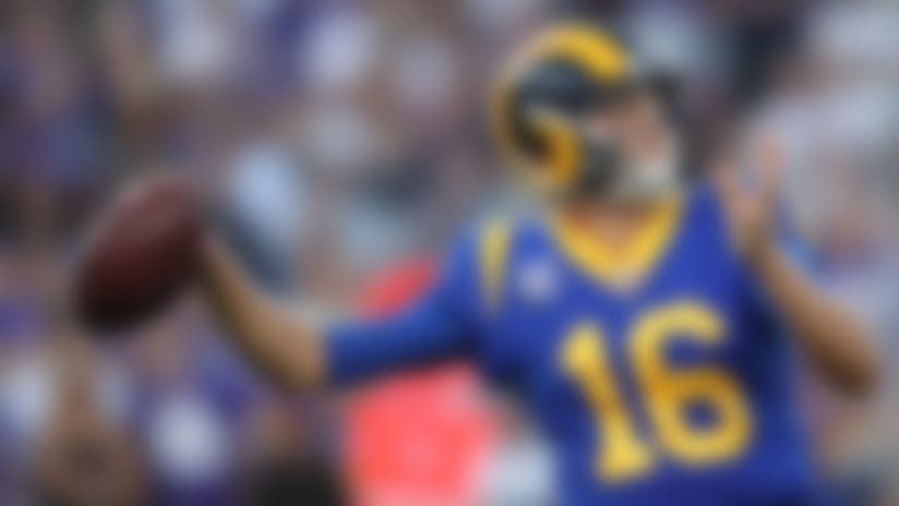 Los Angeles Rams quarterback Jared Goff (16) throws a pass during an NFL football game against the Minnesota Vikings, Thursday, Sept. 27, 2018 in Los Angeles. (Ben Liebenberg/NFL)