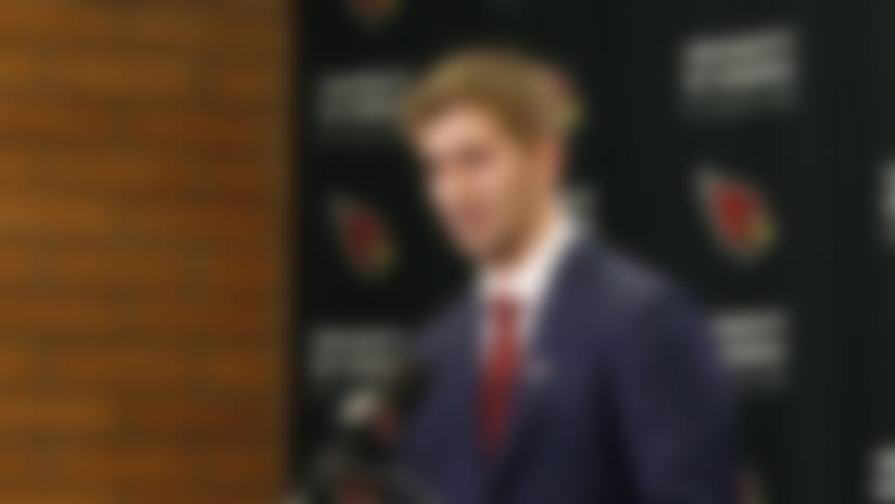 Arizona Cardinals first-round NFL football draft pick Josh Rosen answers a question during a news conference.