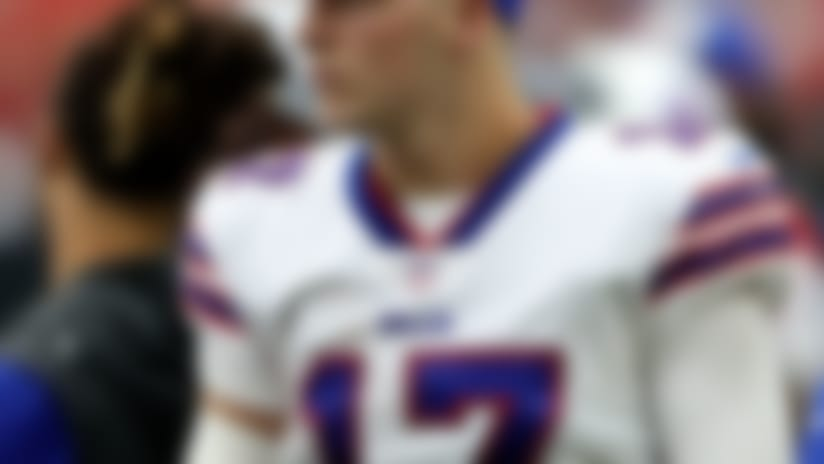 Oct 14, 2018; Houston, TX, USA; Buffalo Bills quarterback Josh Allen (17) on the sidelines during the second half against the Houston Texans at NRG Stadium. Mandatory Credit: Kevin Jairaj-USA TODAY Sports
