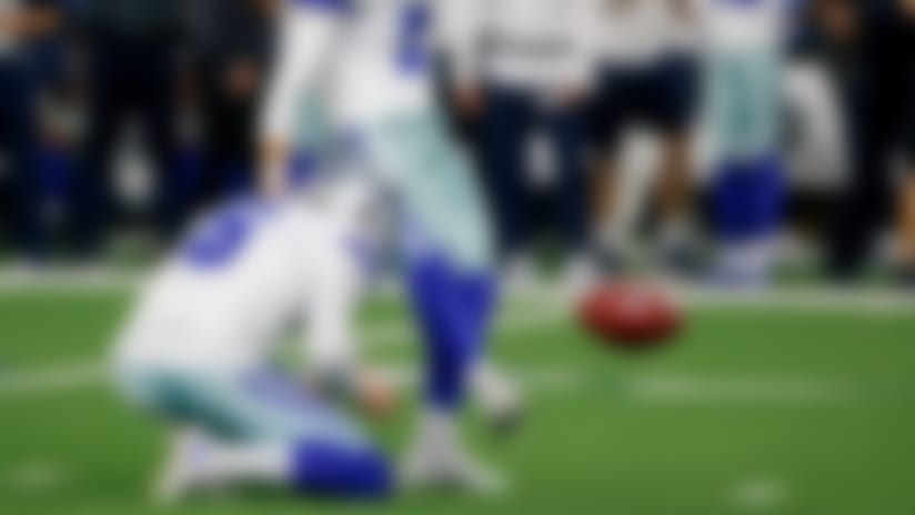 Dallas Cowboys punter Chris Jones (6) holds as place kicker Brett Maher (2) attempts a field goal in the second half of an NFL football game in Arlington, Texas, Thursday, Nov. 28, 2019. Maher missed on the attempt. (AP Photo/Michael Ainsworth)
