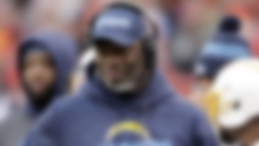 Los Angeles Chargers head coach Anthony Lynn follows the second half of an NFL football game against the Kansas City Chiefs in Kansas City, Mo., Sunday, Dec. 29, 2019. (AP Photo/Charlie Riedel)