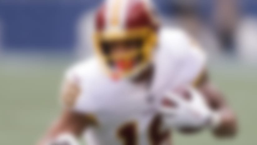 Washington Redskins wide receiver Josh Doctson runs with the ball in the first half of an NFL football game against the Seattle Seahawks, Sunday, Nov. 5, 2017, in Seattle. (AP Photo/Stephen Brashear)