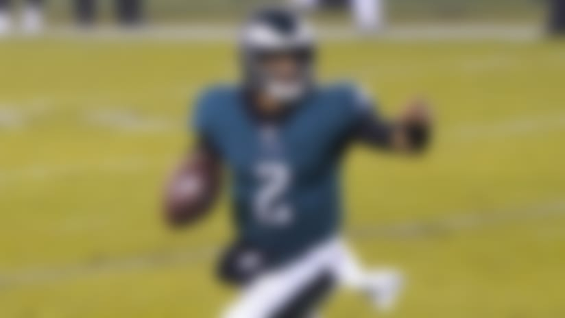 Philadelphia Eagles' Jalen Hurts plays during the second half of an NFL football game against the Washington Football Team, Sunday, Jan. 3, 2021, in Philadelphia. (AP Photo/Chris Szagola)