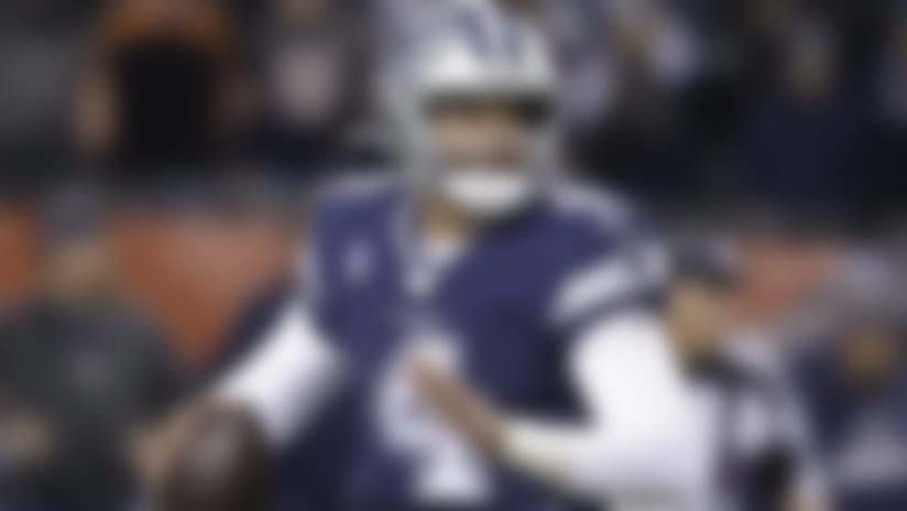 Dallas Cowboys quarterback Dak Prescott (4) runs during the first half of an NFL football game against the Chicago Bears, Thursday, Dec. 5, 2019, in Chicago. (AP Photo/Darron Cummings)