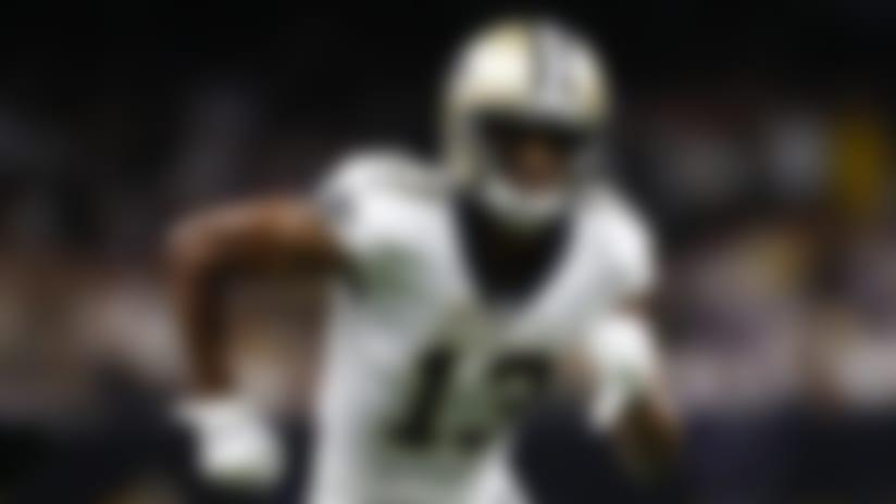 New Orleans Saints wide receiver Michael Thomas (13) runs a pass route during an NFL wild-card playoff football game against the Minnesota Vikings, Sunday, Jan. 5, 2020, in New Orleans. The Vikings beat the Saints 26-20. (Matt Patterson via AP)