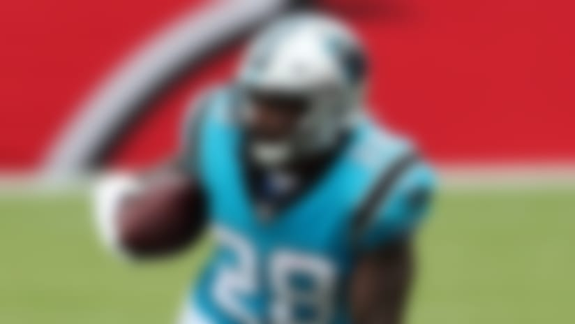 Carolina Panthers running back Mike Davis (28) runs with the ball during the football game against the Tampa Bay Buccaneers on Sunday, September 20, 2020 in Tampa Bay, Florida. (Perry Knotts/NFL)