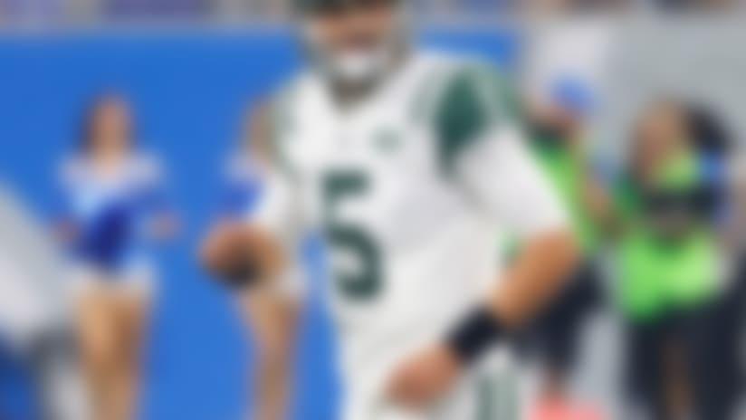 New York Jets quarterback Christian Hackenberg (5) plays against the Detroit Lions during a preseason NFL football game in Detroit, Saturday, Aug. 19, 2017. (AP Photo/Paul Sancya)