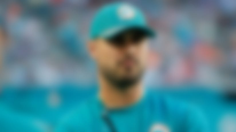 Miami Dolphins quarterback Matt Moore (8) looks from the sidelines, during the first half of an NFL football game against the Buffalo Bills, Sunday, Dec. 31, 2017, in Miami Gardens, Fla. (AP Photo/Wilfredo Lee)