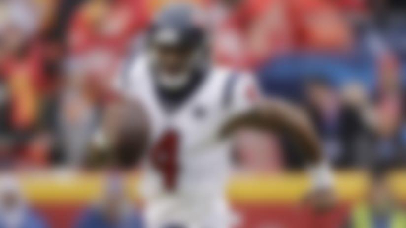 Houston Texans quarterback Deshaun Watson runs the ball during the first half of an NFL divisional playoff football game against the Houston Texans Sunday, Jan. 12, 2020, in Kansas City, Mo. (AP Photo/Charlie Riedel)