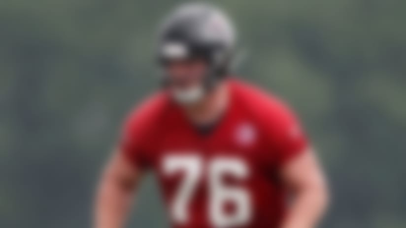 FILE - In this July 23, 2019, file photo, Atlanta Falcons rookie offensive tackle Kaleb McGary (76) is shown during their NFL training camp football practice in Flowery Branch, Ga. The Falcons' offensive line remains a work in progress. Having rookie first-round pick Kaleb McGary again cleared for contact following a heart procedure may help. (AP Photo/John Bazemore, File)