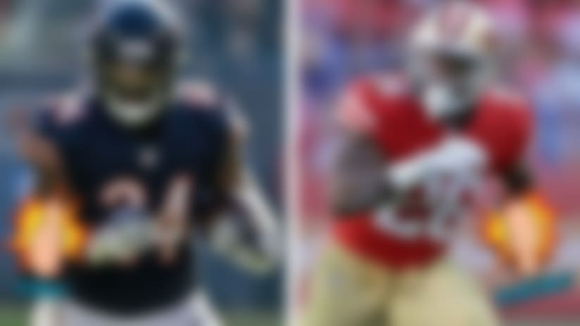 A graphic of Jordan Howard and Carlos Hyde for Like/Dislike.