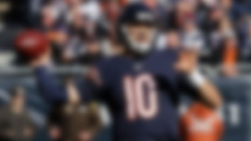 Chicago Bears quarterback Mitchell Trubisky (10) throws during the second half of an NFL football game against the New England Patriots Sunday, Oct. 21, 2018, in Chicago. (AP Photo/Nam Y. Huh)