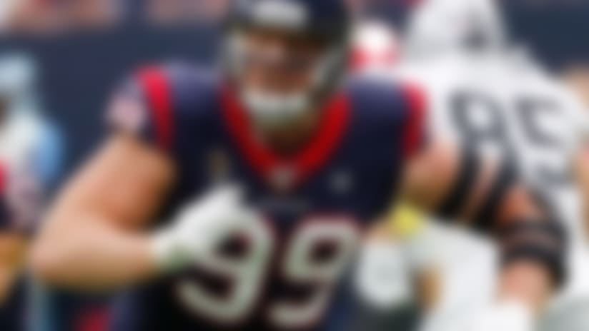 Houston Texans defensive end J.J. Watt (99) pass rushes during an NFL game against the Oakland Raiders, Sunday, Oct. 27, 2019, in Houston. The Texans defeated the Raiders 27-24. (Kevin Terrell via AP)