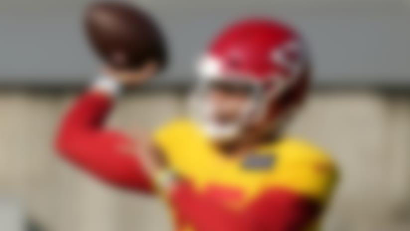 Kansas City Chiefs quarterback Patrick Mahomes passes during an NFL football training camp practice Friday, Aug. 21, 2020, in Kansas City, Mo. (AP Photo/Charlie Riedel)