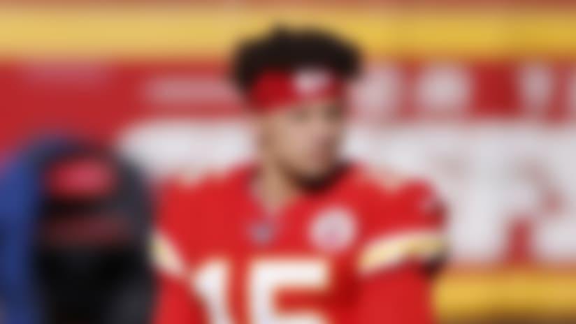 Kansas City Chiefs quarterback Patrick Mahomes (15) looks on during an NFL football game against the Atlanta Falcons, Sunday, Dec. 27, 2020, in Kansas City, Mo. The Chiefs defeated the Falcons 17-14. (Joe Robbins via AP)