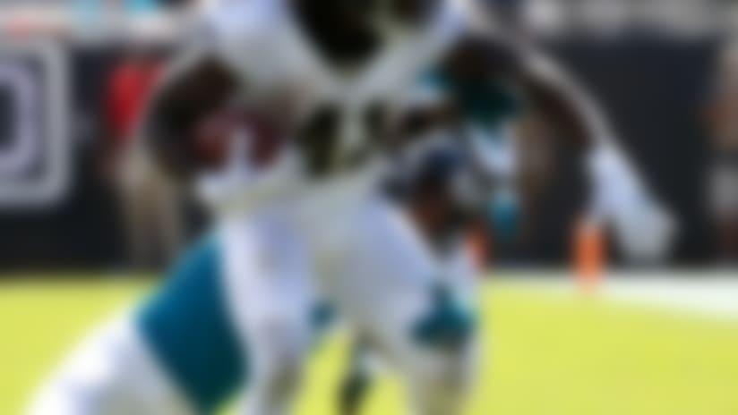 New Orleans Saints running back Alvin Kamara (41) runs against the Jacksonville Jaguars during the first half of an NFL football game, Sunday, Oct. 13, 2019, in Jacksonville, Fla. (AP Photo/Stephen B. Morton)